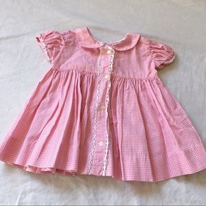 Other - Vintage baby girl pink gingham cotton dress💗